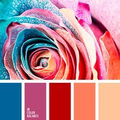 апельсиновый цвет, голубой, голубой и малиновый, коралловый, красно-оранжевый, малиновый и голубой, малиновый и оранжевый, малиновый цвет, нежный голубой, оранжевый, оранжевый и малиновый, оранжевый и синий, оттенки голубого, теплый