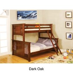 @Overstock.com - Ashton Youth Twin/ Full-size Bunk Bed - This birch wood twin/full-size bunk bed in a dark oak or walnut finish is the perfect way to save space and still keep everyone comfortable. The bottom bed is full size for older children or guests, while the top bed is twin size for the little ones.  http://www.overstock.com/Home-Garden/Ashton-Youth-Twin-Full-size-Bunk-Bed/4302943/product.html?CID=214117 $975.99