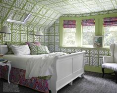 China Seas Tropicana II bedskirt and and shades with Lyford Trellis wallpaper
