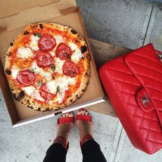 My kind of fashion - match your pizza to your bag and shoes :)