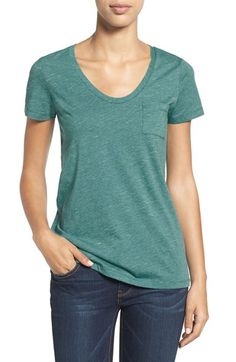 Caslon® Caslon® Relaxed Slub Knit U-Neck Tee (Regular & Petite) available at #Nordstrom