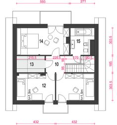 Dom Dla Ciebie 6 bez garażu [B] - Rzut poddasza Unique Small House Plans, Floor Plans, How To Plan, Case, Home Architecture, Projects, Floor Plan Drawing, House Floor Plans