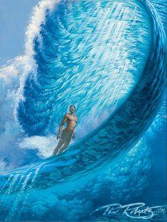 Showcase of surf art by Californian surf artist Phil Roberts on Club Of The Waves No Wave, Surf Design, Ocean Art, Ocean Waves, Big Waves, Surf Mode, Arte Alien, Underwater Art, Hawaiian Art
