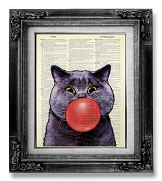 Whimsical CAT art Print GEEKERY Cat Decor Geek Cat by GoGoBookart