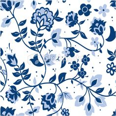 Delft blue pattern swatch Royalty Free Stock Vector Art Illustration
