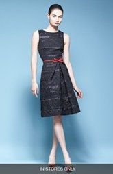 Carolina Herrera Jacquard Cocktail Dress with Red Bow (In Store Only)