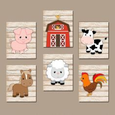 FARM Animals Wall Art, Canvas or Prints, Country Baby Boy Nursery Artwork, Cow Pig Barn Rooster Sheep Horse Western Wood Bedroom Set of 6 Baby Boy Nursery Themes, Baby Boy Rooms, Baby Boy Nurseries, Baby Boys, Nursery Boy, Nursery Artwork, Nursery Decor, Farm Animal Nursery, Baby Farm Animals