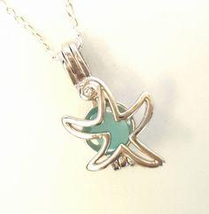 Starfish Locket Necklace GENUINE Sea Glass Jewelry Sterling Silver And Aqua