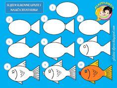 Leer een vis te tekenen / Naučimo crtati ribu Cogito Ergo Sum, Sea Theme, Pictures To Draw, Oceans, Under The Sea, Painted Rocks, Craft Projects, Preschool, Paper Crafts