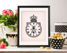 Queen Bee Honeybee Сrown Watch 8x10 On the Pink Background & Black ClipArt Antique Printable Image DIGITAL INSTANT DOWNLOAD graphic HQ300dpi by ZikkiArt on Etsy