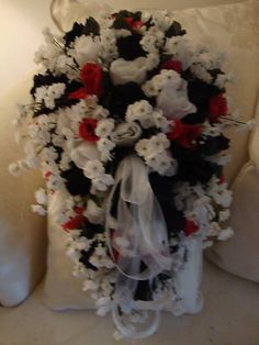 red white and black bouquet