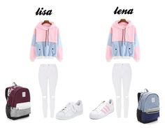 """lisa lena pink blue"" by blah101today ❤ liked on Polyvore featuring Victoria's Secret, Topshop and adidas"