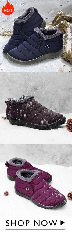 92dea94e5e Warm Solid Color Flat Heel Boots Warm Boots
