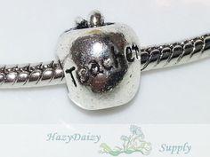 Apple for the Teacher European Beads  Sku244 by HazyDaizySupply, $4.00