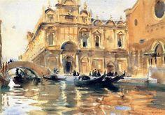 John Singer Sargent (1856 — 1925, USA) Rio dei Mendicanti, Venice. c. 1903 watercolour on paper. 37.1 x 52 cm. Indianapolis Museum of Art