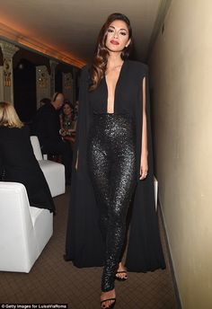 Sparkly: Nicole Scherzinger sported a pair of skin tight sequinned trousers  as she stepped out at theFirenze4ever 14th Edition Party in Florence on Monday night