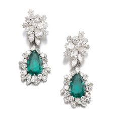 Emerald and diamond pendent ear clips, Bulgari, Surmounts are detachable and may be worn with the natural pearl and diamond pendants. Formerly the property of Gina Lollobrigida, sold at auction May, Jewelry News Network: March 2013 Emerald Earrings, Emerald Jewelry, High Jewelry, Drop Earrings, Statement Earrings, Gina Lollobrigida, Bulgari Jewelry, Jewellery, Shoes