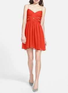 Perfect for a Valentine's Day date   red cutout chiffon dress