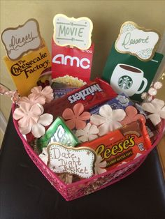 date night basket for bride to be wedding shower gift