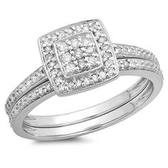 0.30 Carat (ctw) Sterling Silver Round Cut White Diamond Ladies Bridal Engagement Ring Band Set 1/3 CT >>> You can find out more details at the link of the image.