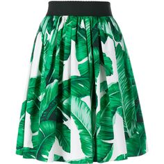 DOLCE & GABBANA High Waisted Banana Leaf Print Skirt (8 980 ZAR) ❤ liked on Polyvore featuring skirts, high-waisted skirts, elastic waist skirt, knee length a line skirt, green skirt and high waisted pleated skirt