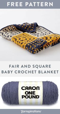 """Free Fair And Square Baby Blanket crochet pattern using Caron One Pound yarn. The look of this unique blanket is achieved with 25 squares, alternating colors on the same pattern. Caron One Pound is the yarn of choice for this crochet project, which you'll love for its easy care and beautiful look. At 40"""" square, this throw makes a great accent piece for the kids' room too! #Yarnspirations #FreeCrochetPattern #CrochetAfghan #CrochetThrow #CrochetBlanket #CaronYarn #CaronOnePound Baby Afghan Patterns, Crochet Baby Blanket Free Pattern, Easy Crochet Blanket, Crochet Square Patterns, Crochet Blocks, Crochet Afgans, Knit Crochet, Crochet Things, Caron One Pound Yarn"""