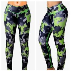 Colombian Supplex Leggings - Ink Blot Lime