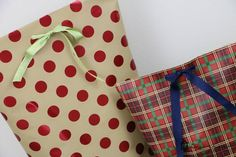 This DIY gift bag tutorial let's you use the wrapping paper you already have on hand to make gorgeous gift bags! You'll never buy another gift bag again.