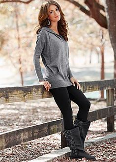 Hooded sweater, leggings, comfy boots  Perfect with my roxy sweatshirt and uggs