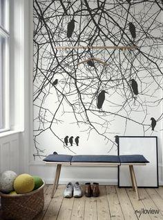 Wykonawcy - wykonanie, Jesień - Jesienna fototapeta z ptakami na gałęziach. Więcej fototapet tutaj: http://myloview.pl/dla-domu/fototapeta-drzewo-i-ptak-nr-DB5A91