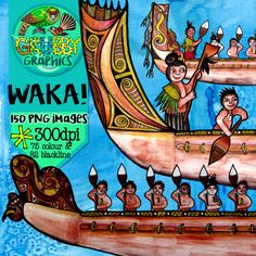 From tree trunk to completed Waka Taua, this massive clip art set includes everything waka related you can imagine! Use the pre-assembled groupings of waka and paddlers, or mix and match the pieces to create your own personalised waka…
