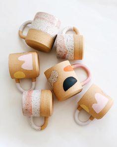 Blush pink mod Memphis design ceramic mugs by Object-Matter Ceramic ( Pottery Mugs, Ceramic Pottery, Slab Pottery, Thrown Pottery, Pottery Wheel, Pottery Painting, Ceramic Painting, Ceramic Clay, Porcelain Ceramics
