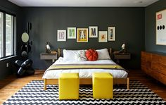 simple + dark - walls, drawers/sideboard, large frame