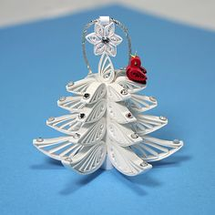 Christmas-Tree Ornament - A Wonderful Quilled / Filigree White Christmas Tree: Decorated Swarovski Rhinestone Crystals and White Star.