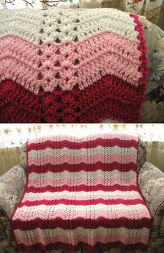 Strawberry Double Shell Ripple pattern by Roseanna Beck -White Chocolate Strawberry Double Shell Ripple pattern by Roseanna Beck - Block-stitch Blanket pattern Crochet Afghans, Crochet Ripple Afghan, Crochet Quilt, Love Crochet, Crochet Baby, Blanket Crochet, Baby Afghans, Chevron Afghan, Crochet Throws