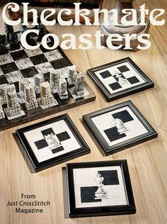 Checkmate Coasters from the May/Jun 2016 issue of Just CrossStitch Magazine. Order a digital copy here: https://www.anniescatalog.com/detail.html?prod_id=131294