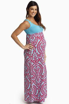Aqua-Fuchsia-Damask-Bottom-Maternity-Maxi-Dress