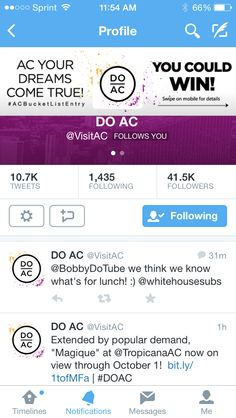 The DoAC campaign Atlantic City follows me and giving me a shout out!