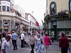 King Street, the pedestrianised main shopping street in St Helier. Jersey, Channel Islands
