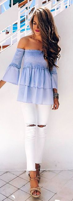 #spring #outfits Blue Off The Shoulder Peplum Top + White Ripped Skinny Jeans 💃🏼💃🏼