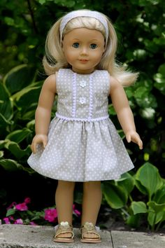 American Girl Doll polka dot Summer dress and headband