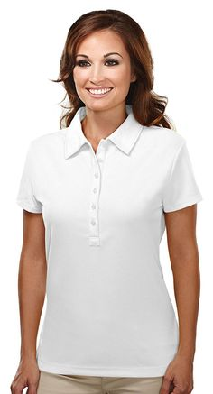 Women's Polyester UltraCool Short Sleeve 6-Button Waffle Knit Shirt (16 Colors) >>> Find out more details by clicking the image : Plus size shirts