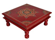 Red Pooja Chowki Wooden Furniture Handmade Bajot Hand Painted Small Table House Living Room Decor by HouseOfHandicraft on Etsy Painted End Tables, Decor Home Living Room, Room Decor, Indian Room, Iron Coffee Table, Square Side Table, Wooden Side Table, Kid Table, Antique Decor
