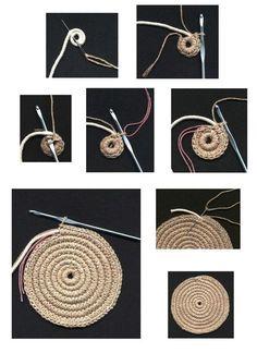 Round juta cord bag crochet tasseled handbag summer tote circular purse circle bags custom made China Mochila (on-line / MK) - Tudo em azhure . This Pin was discovered by Све Crochet rug or heat pad if you get bored at about 12 – Artofit Will Need To Crochet Diy, Diy Crochet Rope Basket, Crochet Bowl, Bag Crochet, Crochet Stars, Crochet Handbags, Crochet Stitches, Crochet Patterns, Crochet Bag Tutorials