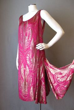 Vintage 20s Dress Metallic Silk Flapper Gatsby Small