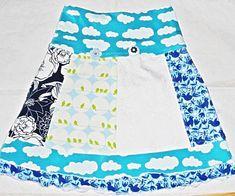 Rock, blau, weiß, bunt, Gr. 134/140. In Handarbeit hergestellte Ware von Ra-Mi-Fashion-Dreams. Jedes Teil ein Einzelstück. Stöbern Sie gerne in meinem Online-Shop und kaufen schöne Handmade Ware. Handmade, Kinderkleidung, Einzelstück, Farbenmix