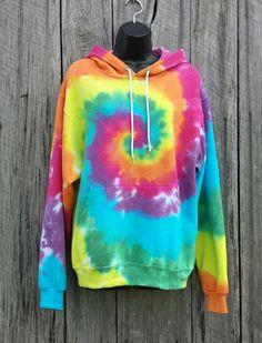 Türkis Rainbow Tie Dye Hoodie S M L XL Erwachsenen von TieDyeSkys