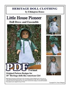 Little House Pioneer 1800s Dress, Bonnet, Drawers with 2 Aprons Pattern for American Girl or 18 inch Doll. $5.00, via Etsy.