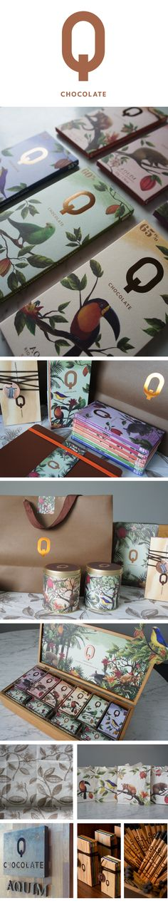 Q Chocolate, packaging design by Claudio Novaes (Cannes Design 2013 Winner) Brand Identity Design, Graphic Design Branding, Corporate Design, Typography Design, Lettering, Corporate Identity, Cool Packaging, Brand Packaging, Design Packaging