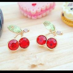Red Cherry Earing Studs